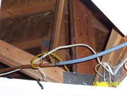 Unprotected live wire - Cambridge Home Inspector