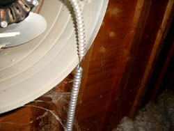Worn attic fan wiring - Kitchener Home Inspector